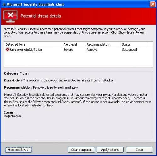 Malware en forma de falso Microsoft Security Essentials