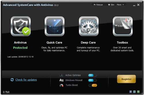 Disponible Advanced Systemcare with Antivirus 2013